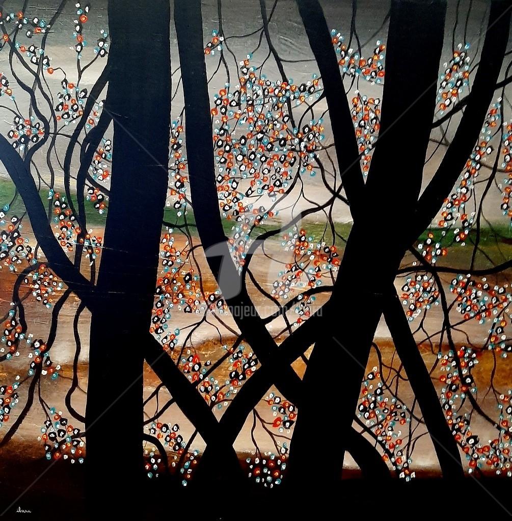 Henri Ibara - Petites fleurs et arbres noirs