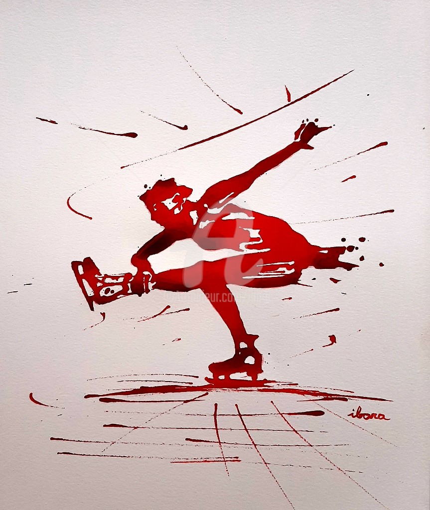 Henri Ibara - Patinage artistique N°2 encre rouge de Henri Ibara