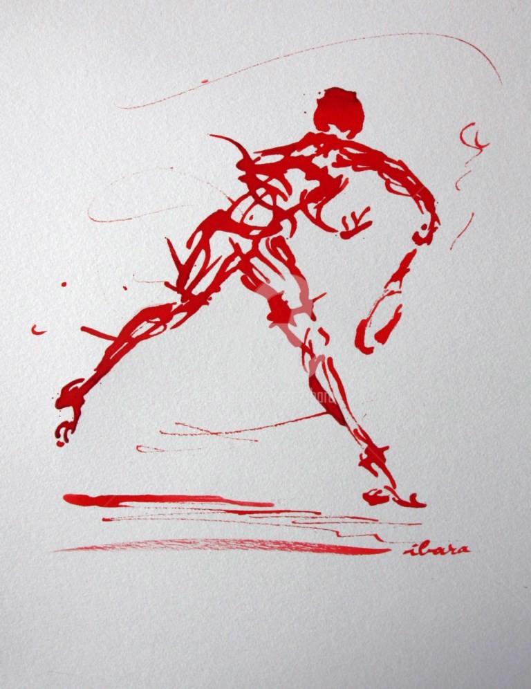Henri Ibara - tennis-n-6-dessin-calligraphique-d-ibara-a-l-encre-rouge.jpg