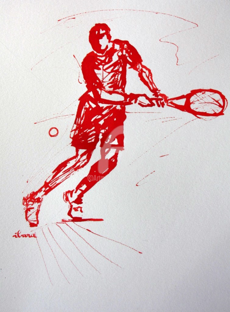 Henri Ibara - tennis-n-8-dessin-calligraphique-d-ibara-a-l-encre-rouge.jpg
