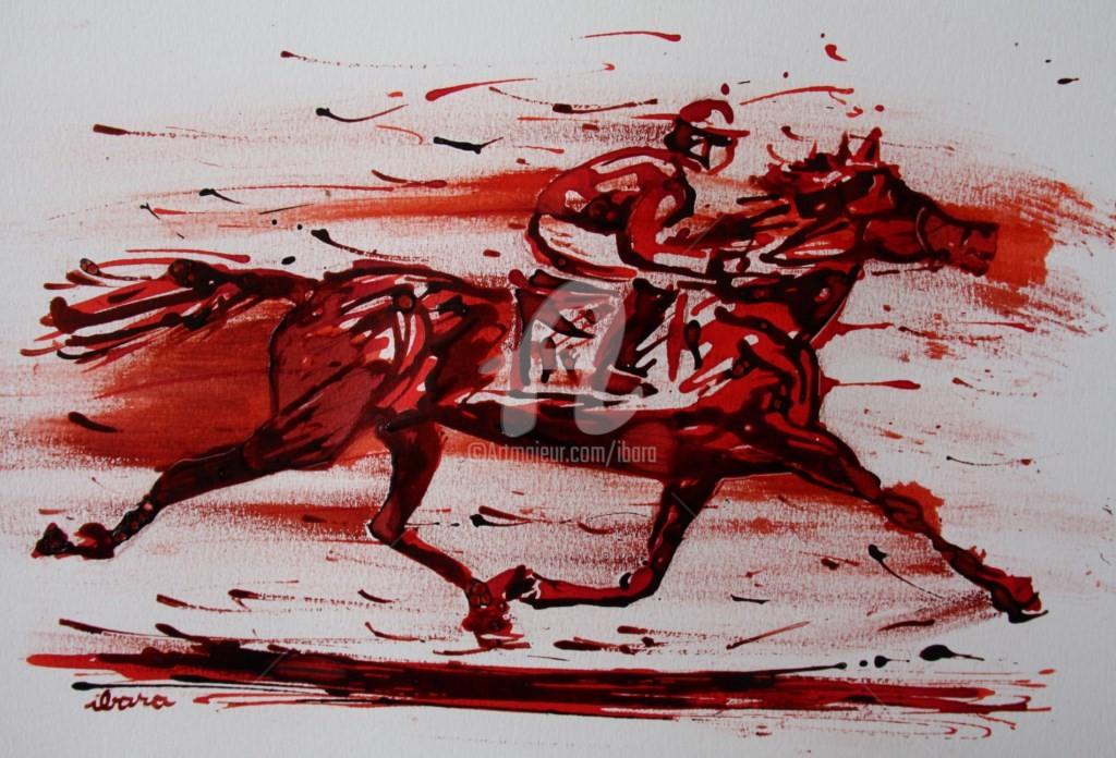 Henri Ibara - course-hippique-n-2-dessin-d-ibara-a-l-encre-rouge-et-sanguine-sur-papier-aquarelle-300gr-format-30cm-sur-42cm.jpg