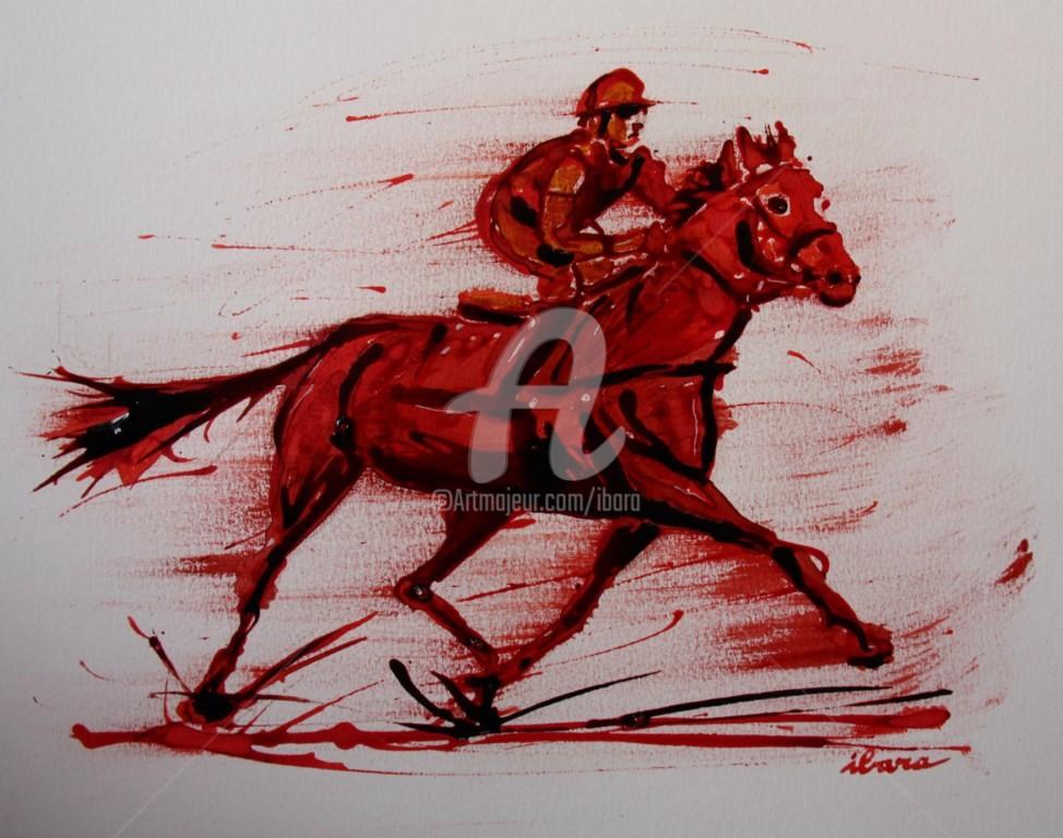 Henri Ibara - course-hippique-n-3-dessin-d-ibara-a-l-encre-rouge-et-sanguine-sur-papier-aquarelle-300gr-format-30cm-sur-42cm.jpg