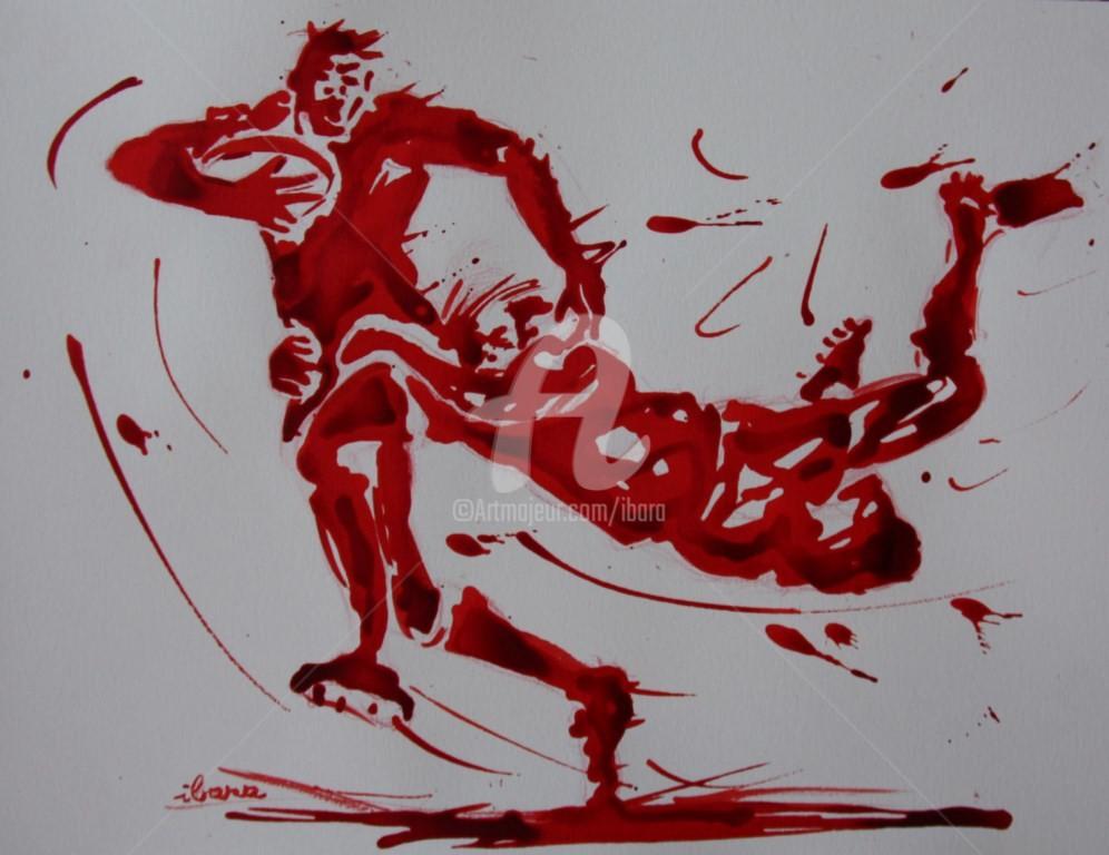 Henri Ibara - rugby-n-17-dessin-d-ibara-encre-rouge-sur-papier-aquarelle-format-30cm-sur-42cm.jpg