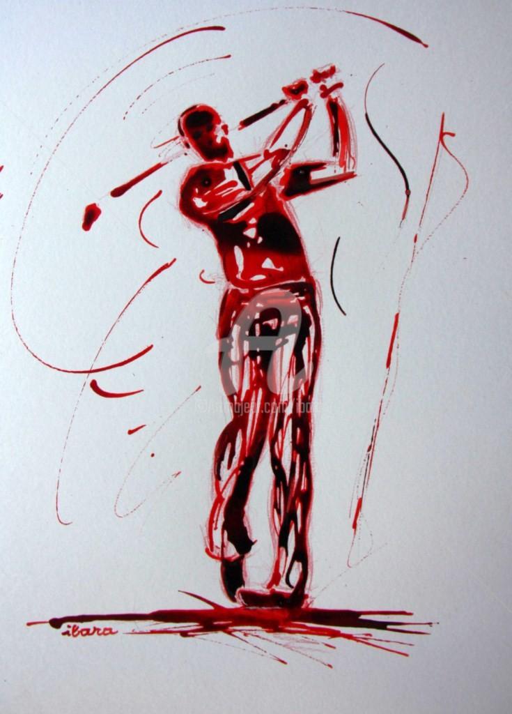 Henri Ibara - golf-n-5-dessin-d-ibara-encre-rouge-et-sanguine-sur-papier-aquarelle-300gr-format-30cm-sur-42cm-d-ibara.jpg