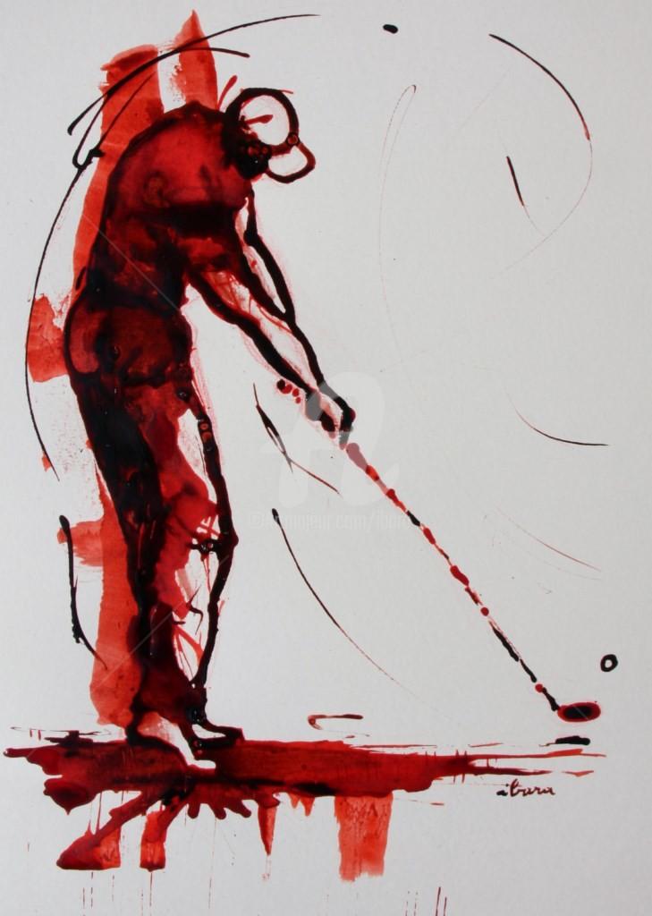 Henri Ibara - golf-n-6-dessin-d-ibara-encre-rouge-et-sanguine-sur-papier-aquarelle-300gr-format-30cm-sur-42cm-d-ibara.jpg