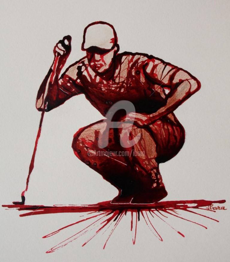 Henri Ibara - golf-n-8-dessin-d-ibara-encre-rouge-et-sanguine-sur-papier-aquarelle-300gr-format-30cm-sur-42cm-d-ibara.jpg