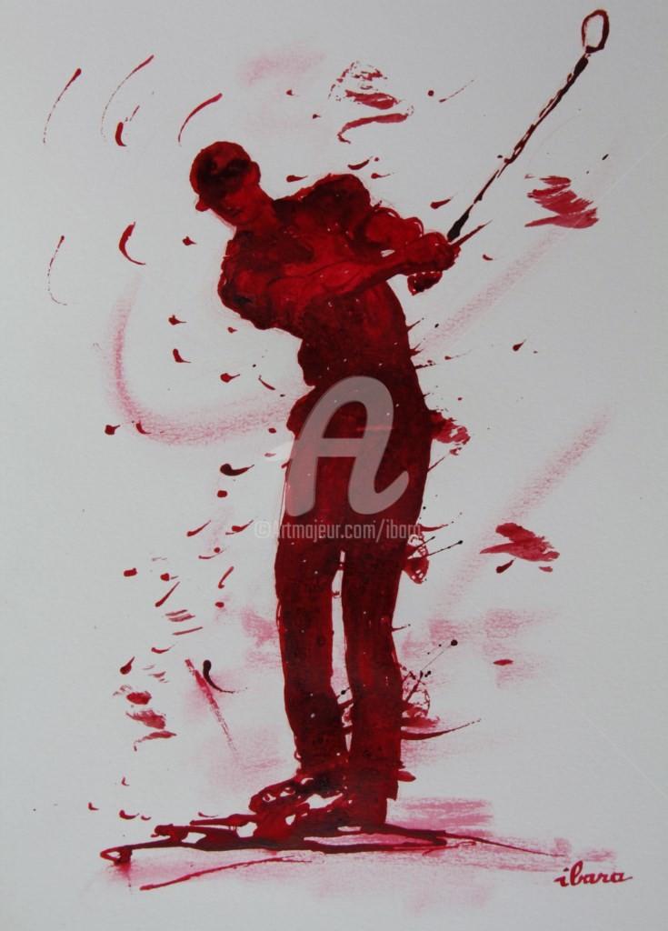 Henri Ibara - golf-n-9-dessin-d-ibara-encre-rouge-et-sanguine-sur-papier-aquarelle-300gr-format-30cm-sur-42cm-d-ibara.jpg