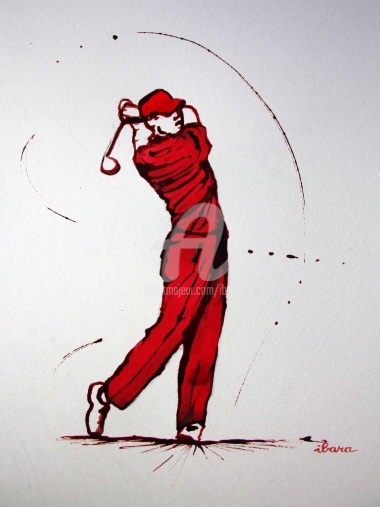 Henri Ibara - golf-n-10-dessin-d-ibara-encre-rouge-et-sanguine-sur-papier-aquarelle-300gr-format-30cm-sur-42cm-d-ibara.jpg