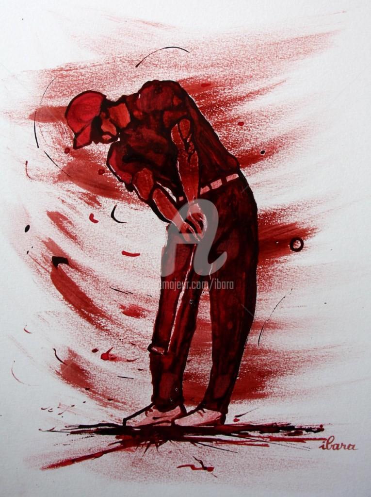 Henri Ibara - golf-n-11-dessin-d-ibara-encre-rouge-et-sanguine-sur-papier-aquarelle-300gr-format-30cm-sur-42cm-d-ibara.jpg