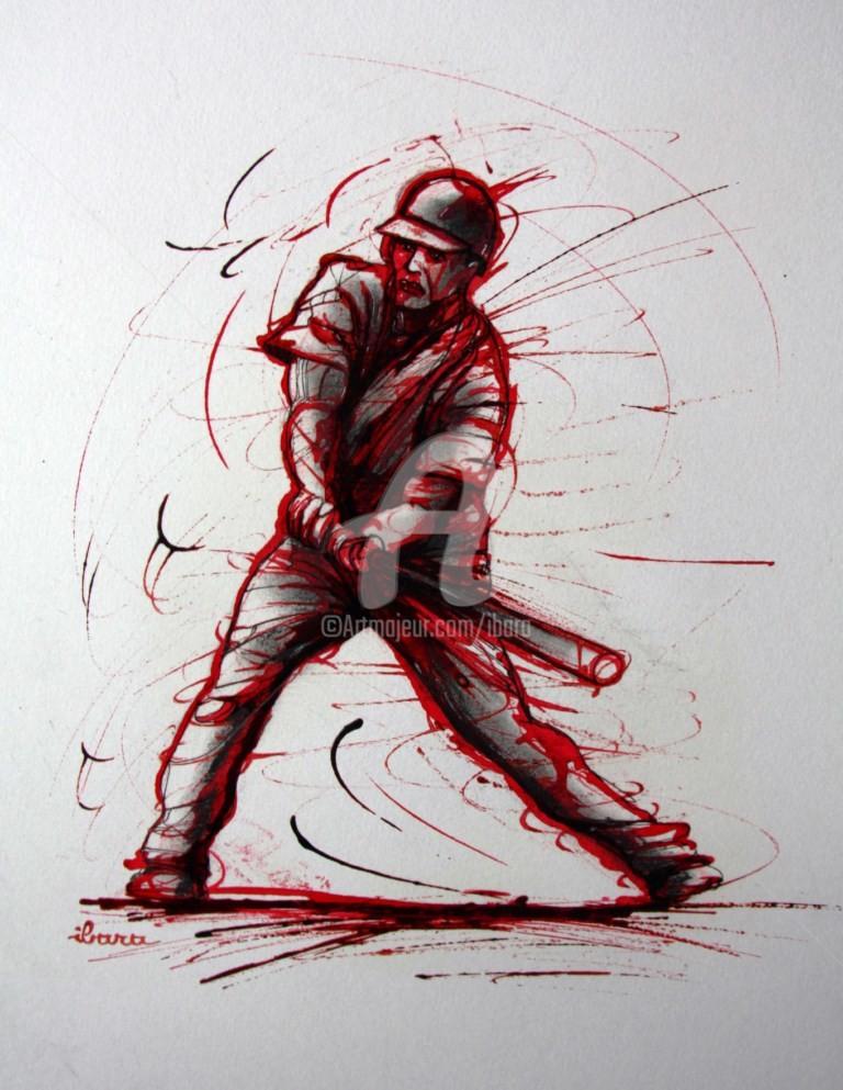 Henri Ibara - baseball-dessin-d-ibara-a-l-encre-rouge-sanguine-et-crayon-noir-sur-papier-aquarelle-300gr-format-30cm-sur-42cm.jpg