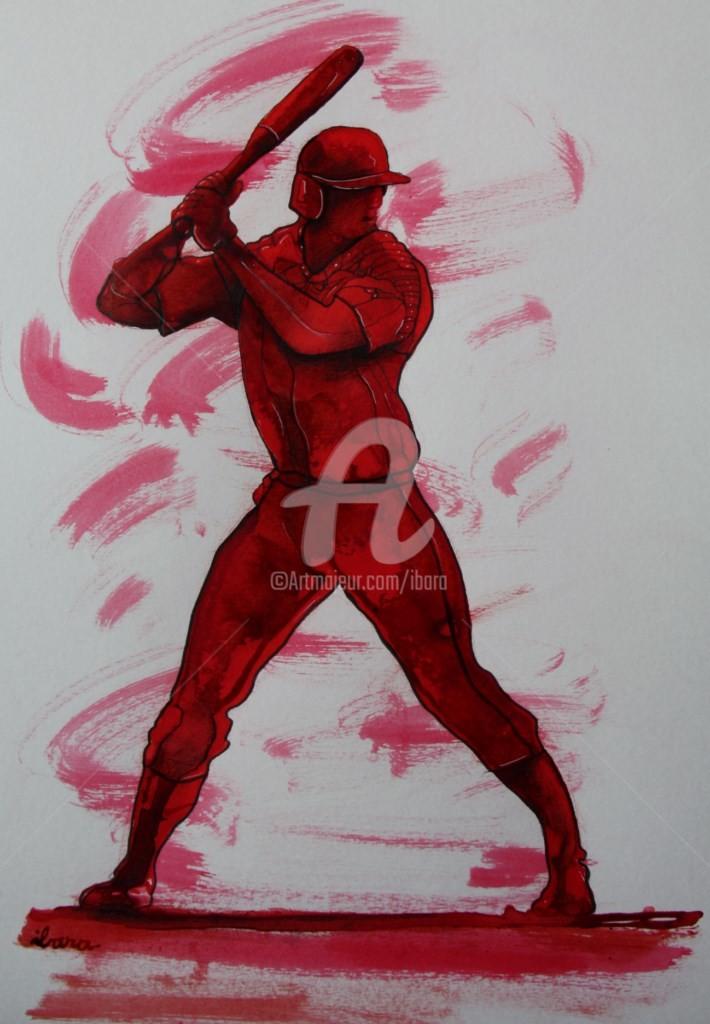 Henri Ibara - baseball-n-3-dessin-d-ibara-a-l-encre-rouge-et-sanguine-sur-papier-aquarelle-300gr-format-30cm-sur-42cm.jpg