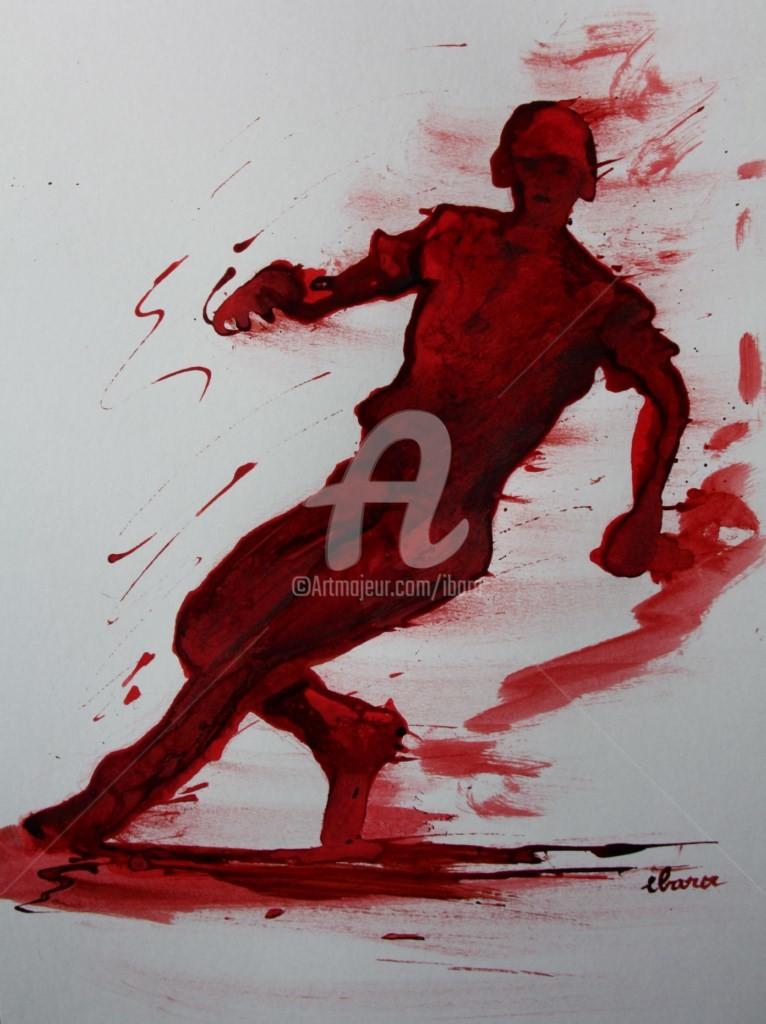 Henri Ibara - baseball-n-4-dessin-d-ibara-a-l-encre-rouge-et-sanguine-sur-papier-aquarelle-300gr-format-30cm-sur-42cm.jpg