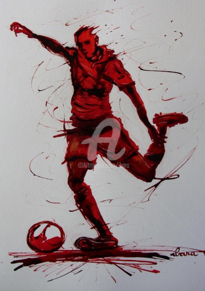 Henri Ibara - football-n-58-dessin-d-ibara-a-l-encre-rouge-et-sanguine-sur-papier-aquarelle-300gr-format-30cm-sur-42cm.jpg