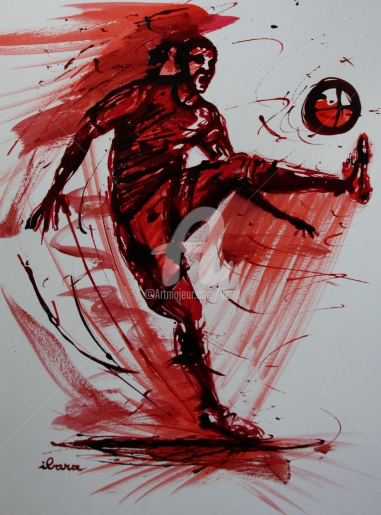 Henri Ibara - football-n-60-dessin-d-ibara-a-l-encre-rouge-et-sanguine-sur-papier-aquarelle-300gr-format-30cm-sur-42cm.jpg
