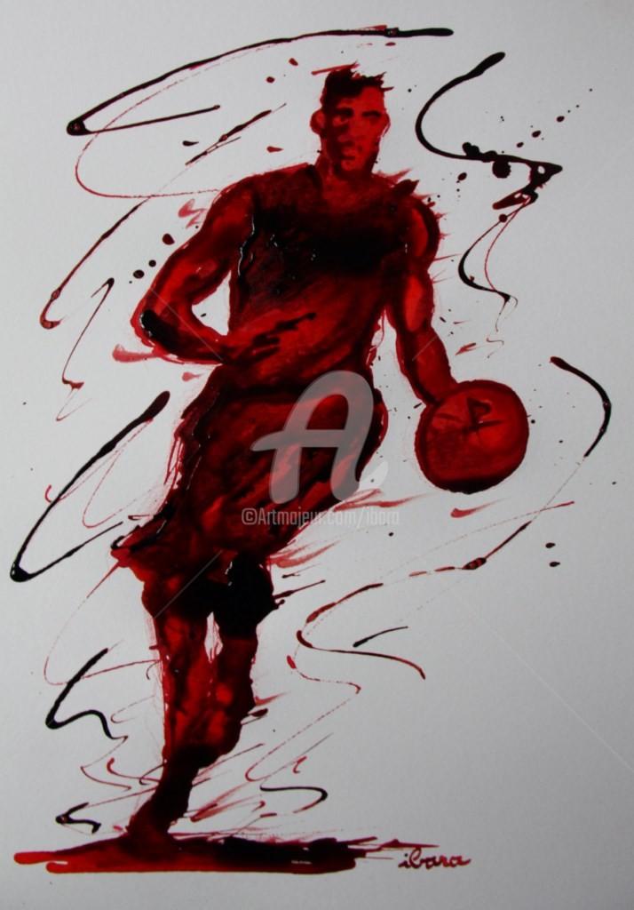 Henri Ibara - basket-n-13-dessin-d-ibara-a-l-encre-rouge-et-sanguine-sur-papier-aquarelle-300gr-format-30cm-sur-42cm.jpg