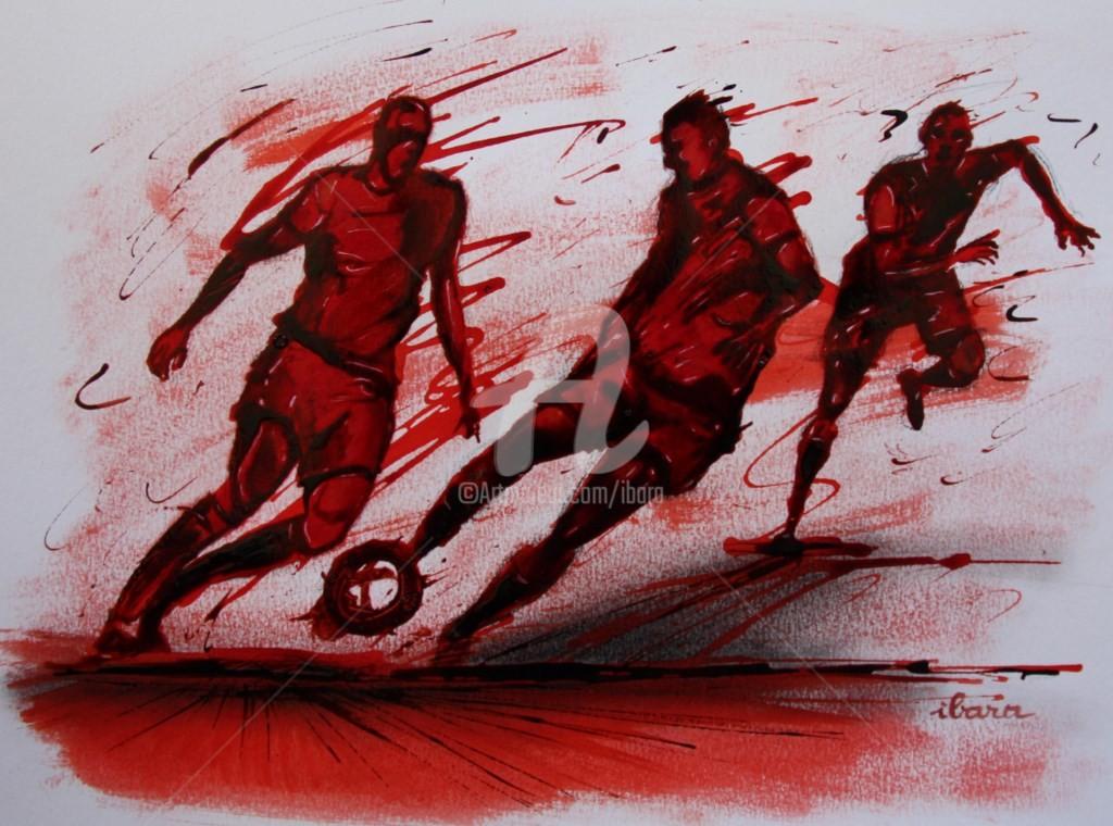 Henri Ibara - football-n-62-dessin-d-ibara-a-l-encre-rouge-et-sanguine-sur-papier-aquarelle-300gr-format-30cm-sur-42cm.jpg
