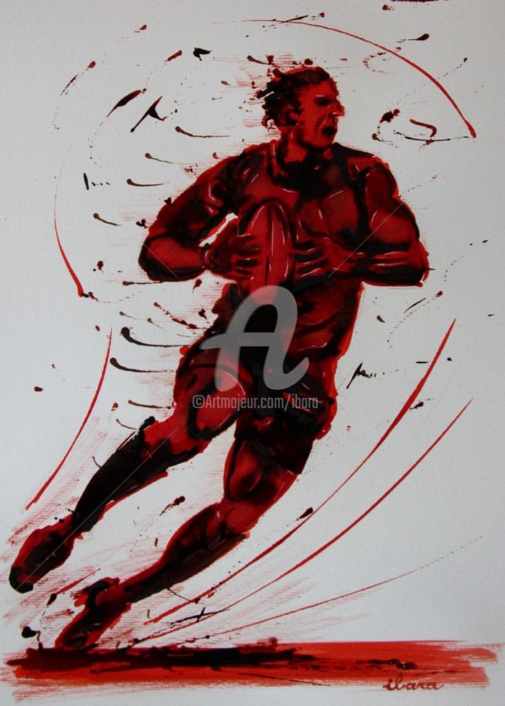 Henri Ibara - rugby-n-25-dessin-d-ibara-encre-rouge-et-sanguine-sur-papier-aquarelle-format-30cm-sur-42cm.jpg