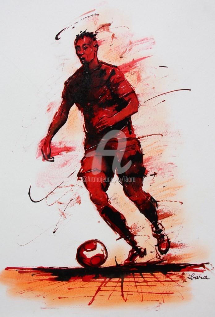 Henri Ibara - football-n-63-dessin-d-ibara-a-l-encre-rouge-et-sanguine-sur-papier-aquarelle-300gr-format-30cm-sur-42cm.jpg