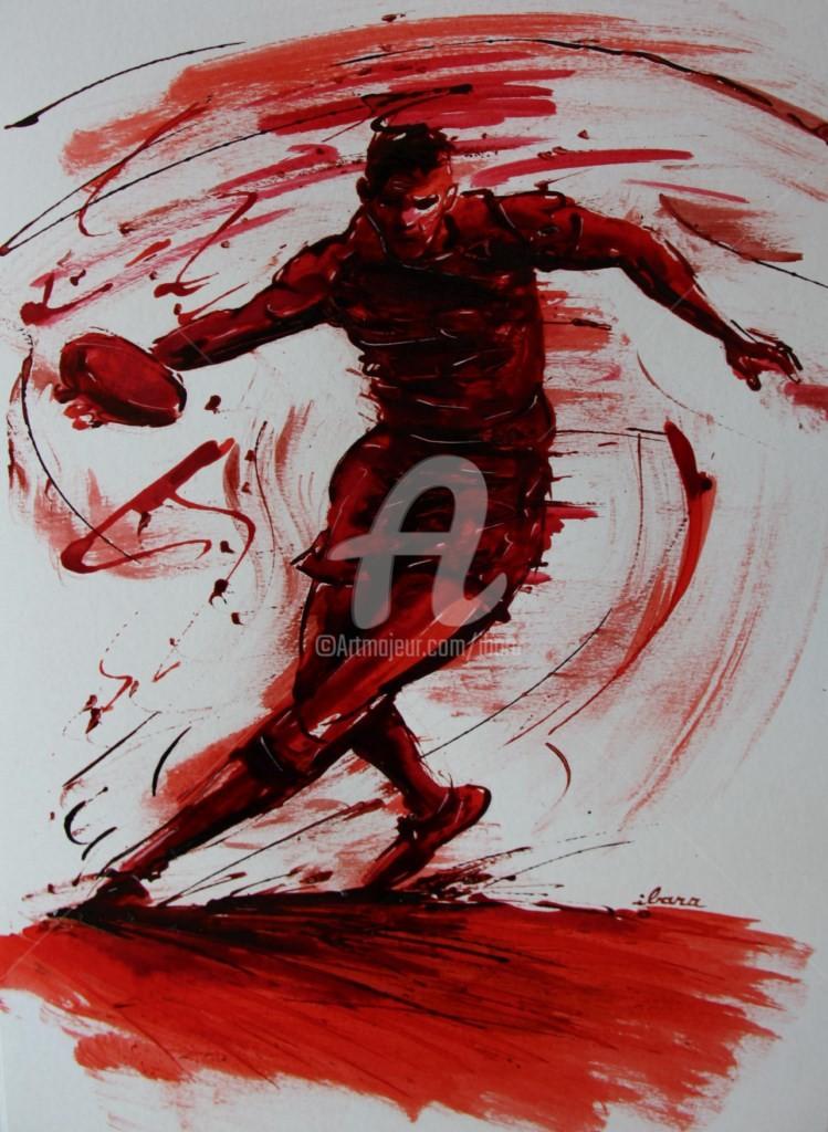 Henri Ibara - rugby-n-26-dessin-d-ibara-encre-rouge-et-sanguine-sur-papier-aquarelle-format-30cm-sur-42cm.jpg