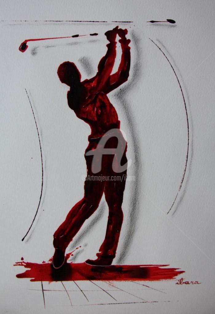 Henri Ibara - golf-n-13-dessin-d-ibara-encre-rouge-sanguine-et-crayon-sur-papier-aquarelle-300gr-format-30cm-sur-42cm-d-ibara.jpg