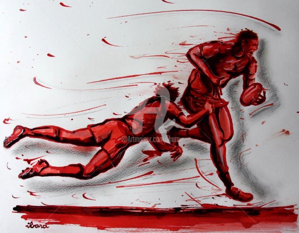 Henri Ibara - rugby-n-27-dessin-d-ibara-encre-rouge-sanguine-et-crayon-sur-papier-aquarelle-format-30cm-sur-42cm.jpg