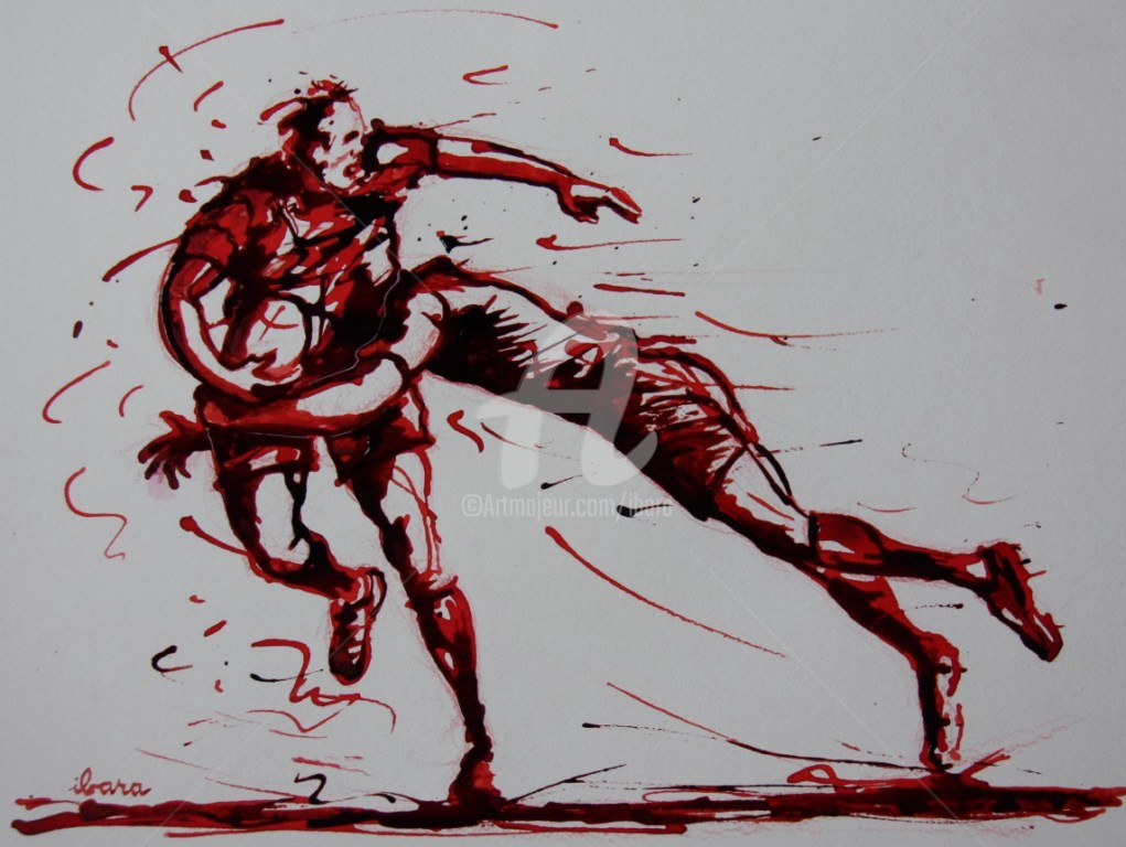 Henri Ibara - rugby-n-29-dessin-d-ibara-encre-rouge-et-sanguine-sur-papier-aquarelle-format-30cm-sur-42cm.jpg