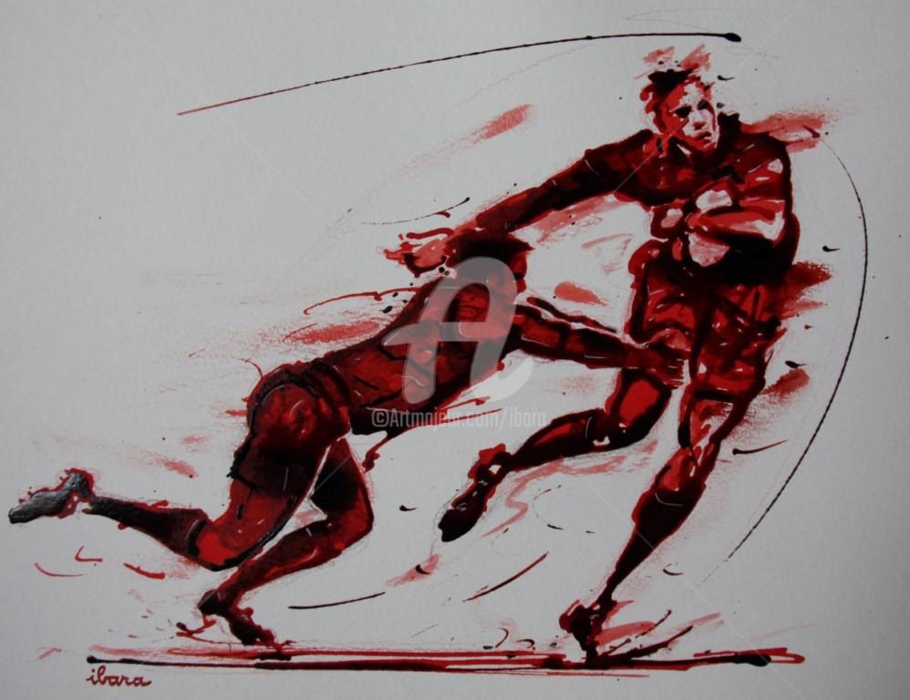 Henri Ibara - rugby-n-30-dessin-d-ibara-encre-rouge-et-sanguine-sur-papier-aquarelle-format-30cm-sur-42cm.jpg