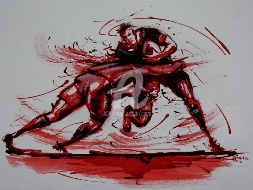 Henri Ibara - rugby-n-31-dessin-d-ibara-encre-rouge-et-sanguine-sur-papier-aquarelle-format-30cm-sur-42cm.jpg