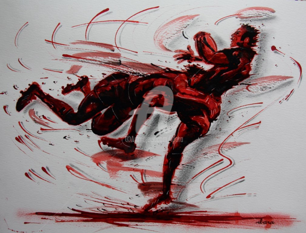 Henri Ibara - rugby-n-32-dessin-d-ibara-encre-rouge-sanguine-et-crayon-sur-papier-aquarelle-format-30cm-sur-42cm.jpg