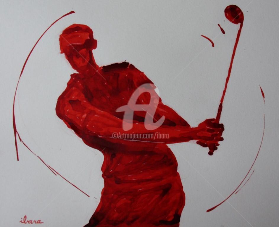 Henri Ibara - golf-n-15-dessin-d-ibara-encre-rouge-sur-papier-aquarelle-300gr-format-30cm-sur-42cm-d-ibara.jpg