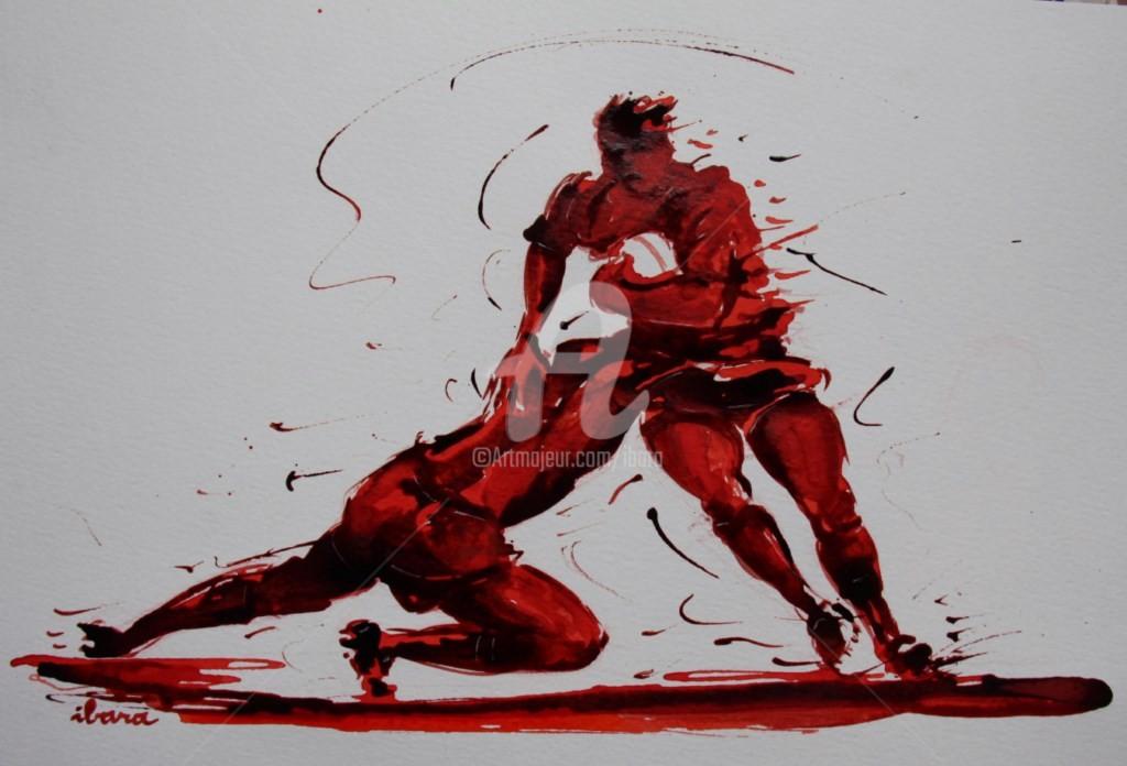 Henri Ibara - rugby-n-33-dessin-d-ibara-encre-rouge-et-sanguine-sur-papier-aquarelle-format-30cm-sur-42cm.jpg