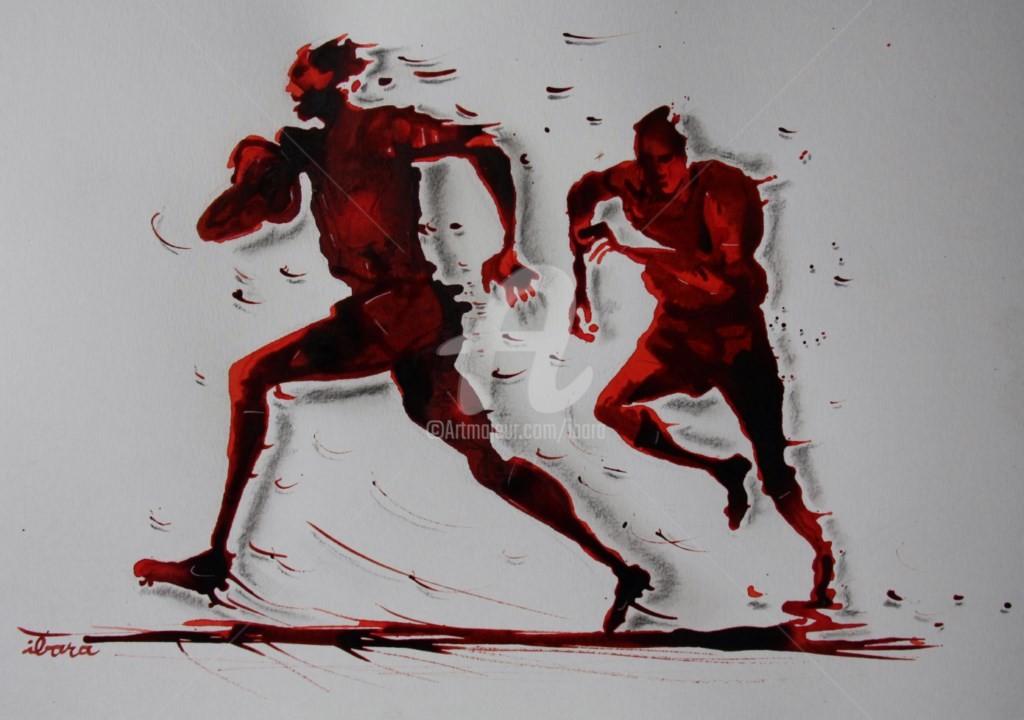 Henri Ibara - rugby-n-34-dessin-d-ibara-encre-rouge-et-sanguine-sur-papier-aquarelle-format-30cm-sur-42cm.jpg