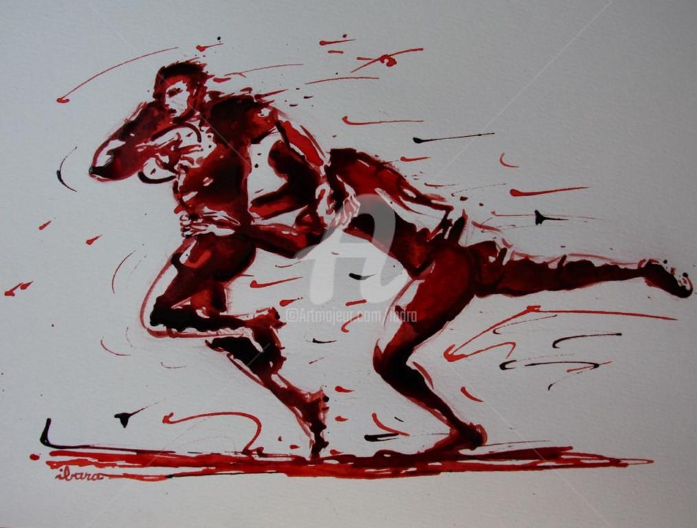 Henri Ibara - rugby-n-35-dessin-d-ibara-encre-rouge-et-sanguine-sur-papier-aquarelle-format-30cm-sur-42cm.jpg