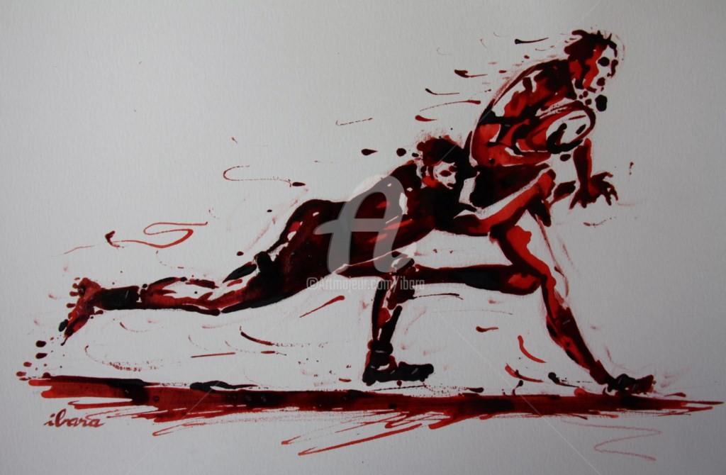 Henri Ibara - rugby-n-36-dessin-d-ibara-encre-rouge-et-sanguine-sur-papier-aquarelle-format-30cm-sur-42cm.jpg