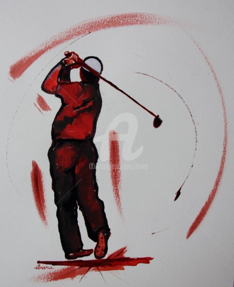 Henri Ibara - golf-n-17-dessin-d-ibara-encre-rouge-et-sanguine-sur-papier-aquarelle-300gr-format-30cm-sur-42cm-d-ibara.jpg