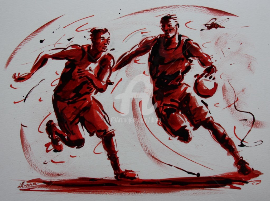 Henri Ibara - basket-n-15-dessin-d-ibara-a-l-encre-rouge-et-sanguine-sur-papier-aquarelle-300gr-format-30cm-sur-42cm.jpg