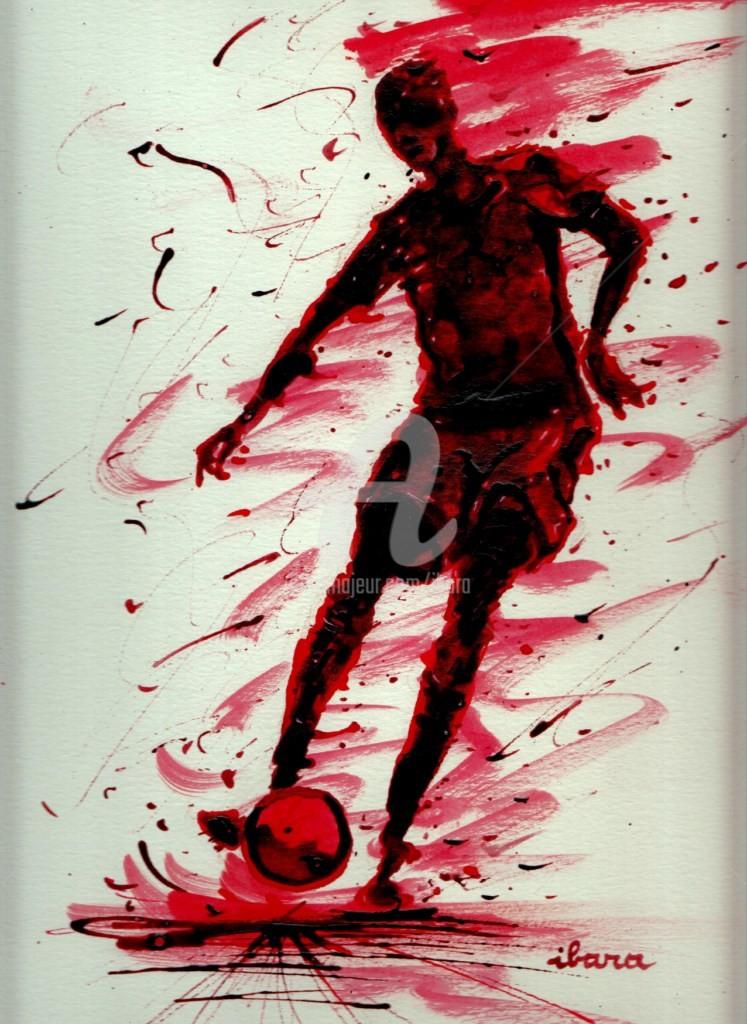 Henri Ibara - football-n-65-dessin-d-ibara-a-l-encre-rouge-sanguine-et-crayon-sur-papier-aquarelle-300gr-format-30cm-sur-42cm.jpg