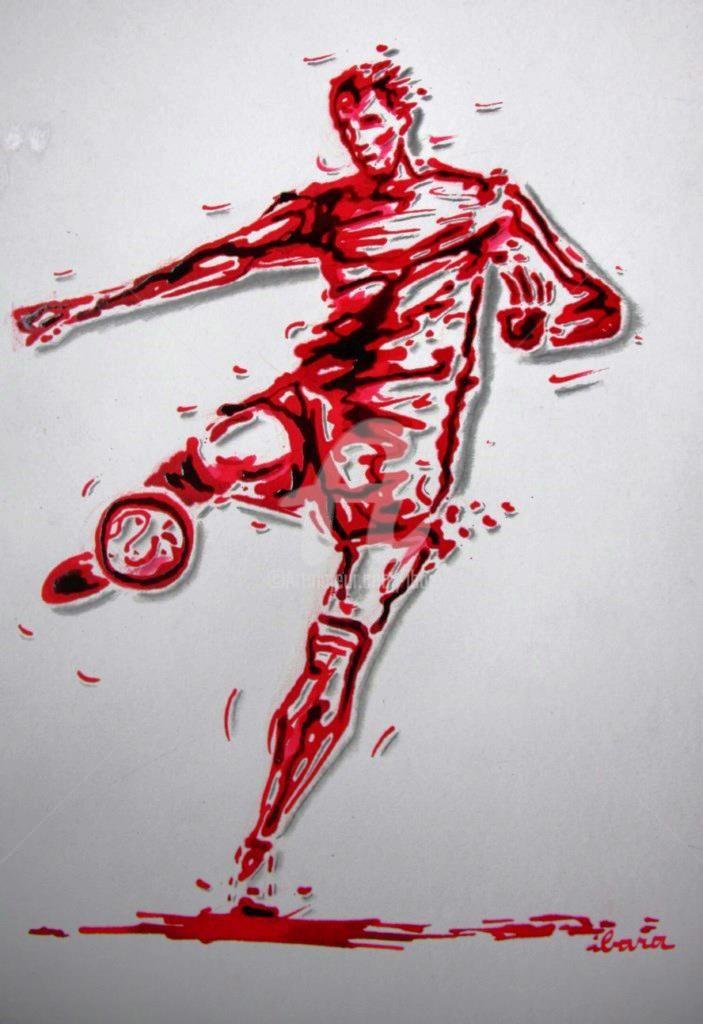 Henri Ibara - football-n-66-dessin-d-ibara-a-l-encre-rouge-sanguine-et-crayon-sur-papier-aquarelle-300gr-format-30cm-sur-42cm.jpg