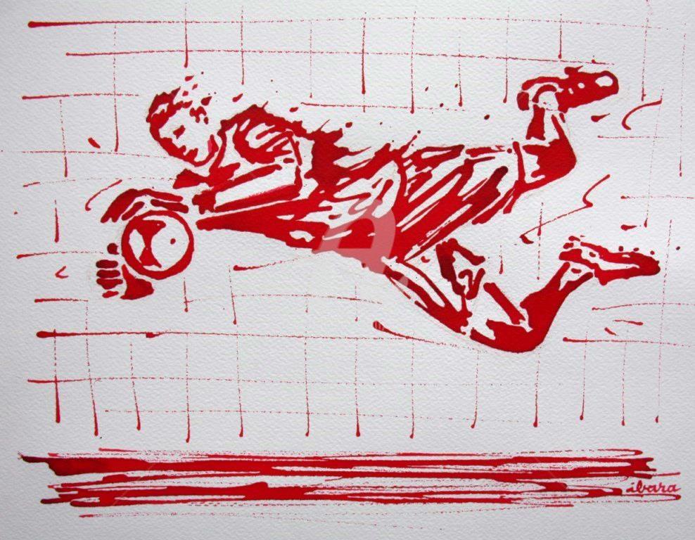Henri Ibara - football-arret-gardien-n-67-dessin-d-ibara-a-l-encre-rouge-sur-papier-aquarelle-300gr-format-30cm-sur-42cm.jpg