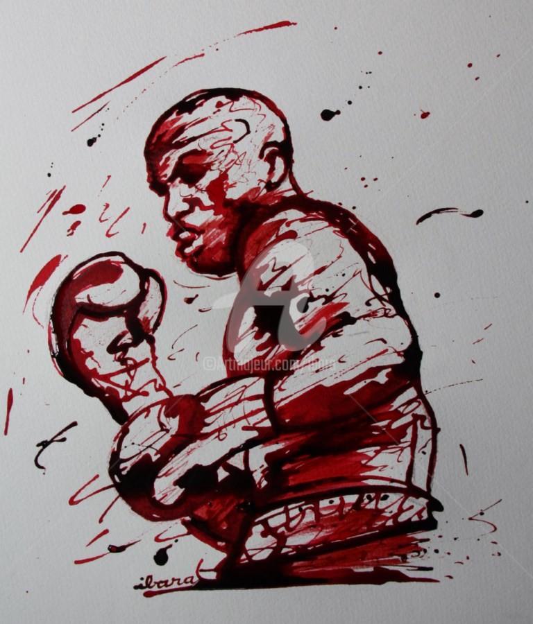 Henri Ibara - boxe-n-1-dessin-d-ibara-a-l-encre-rouge-et-sanguine-sur-papier-aquarelle-300gr-format-30cm-sur-42cm-2.jpg