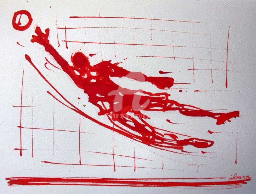 Henri Ibara - football-arret-gardien-n-68-dessin-d-ibara-a-l-encre-rouge-sur-papier-aquarelle-300gr-format-30cm-sur-42cm.jpg