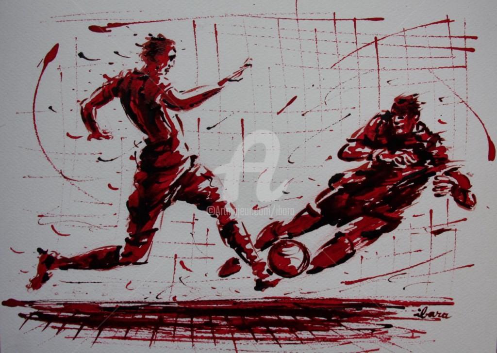 Henri Ibara - football-n-69-dessin-d-ibara-a-l-encre-rouge-sur-papier-aquarelle-300gr-format-30cm-sur-42cm.jpg