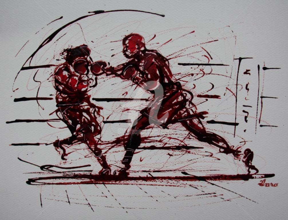 Henri Ibara - boxe-n-2-dessin-d-ibara-a-l-encre-rouge-et-sanguine-sur-papier-aquarelle-300gr-format-30cm-sur-42cm-2.jpg