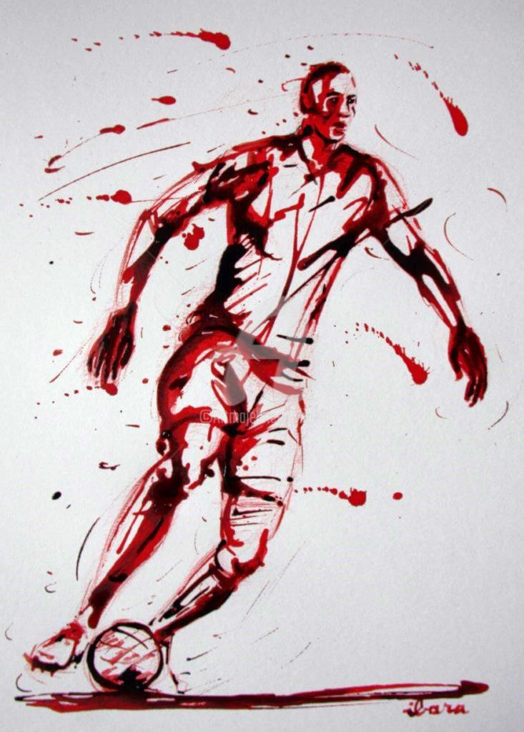 Henri Ibara - football-n-70-dessin-d-ibara-a-l-encre-rouge-sur-papier-aquarelle-300gr-format-30cm-sur-42cm.jpg