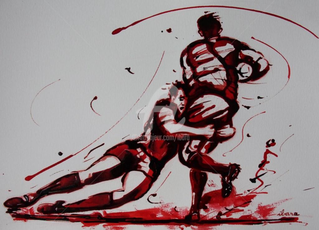 Henri Ibara - rugby-n-39-dessin-d-ibara-encre-rouge-et-sanguine-sur-papier-aquarelle-format-30cm-sur-42cm.jpg