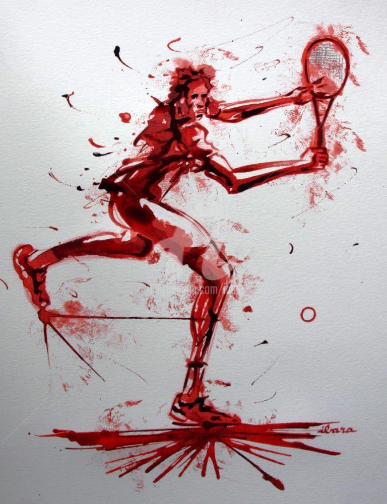 Henri Ibara - tennis-n-10-dessin-d-ibara-a-l-encre-rouge-et-sanguine-sur-papier-aquarelle-300gr-format-30cm-sur-42cm.jpg