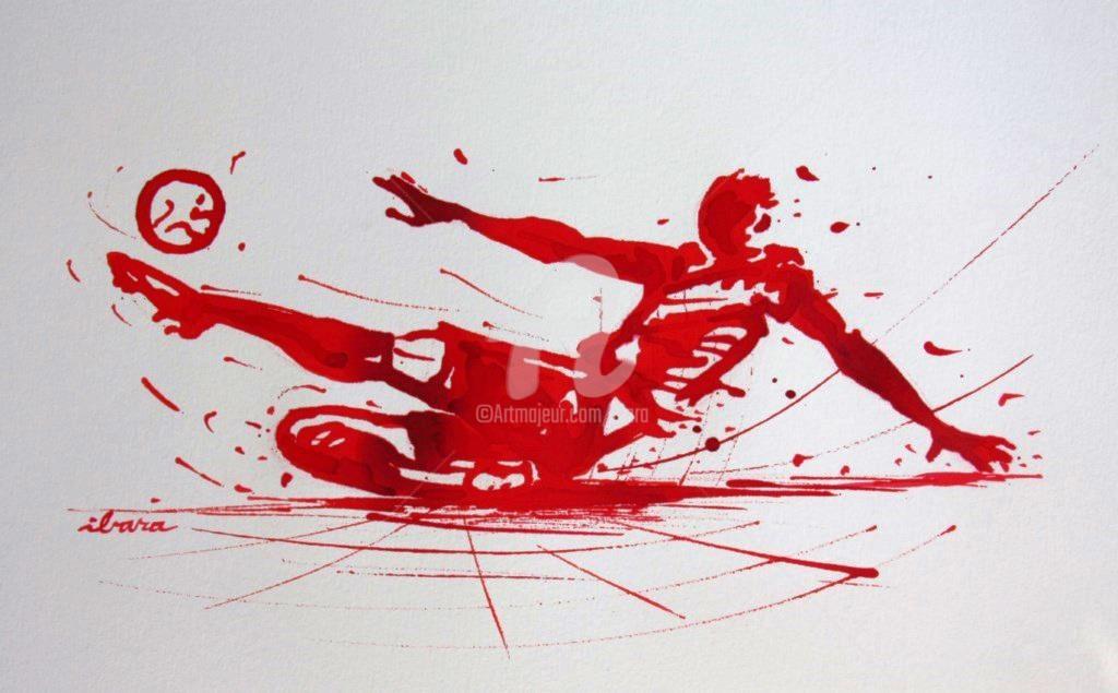 Henri Ibara - football-n-71-dessin-d-ibara-a-l-encre-rouge-sur-papier-aquarelle-300gr-format-30cm-sur-42cm.jpg