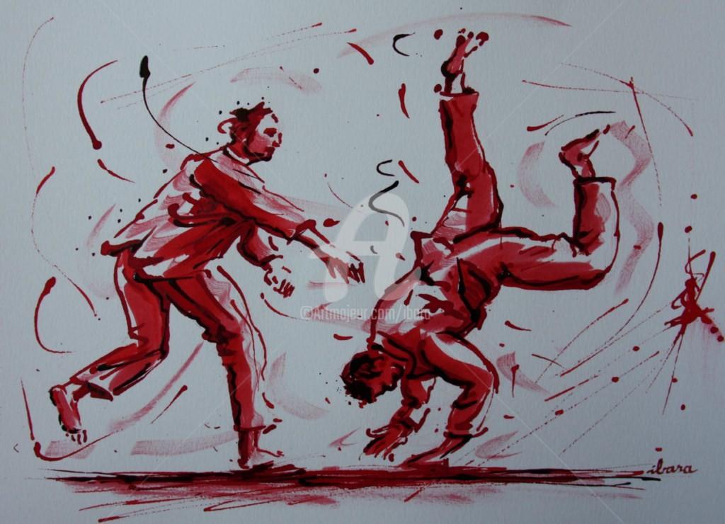 Henri Ibara - judo-n-4-dessin-d-ibara-a-l-encre-rouge-et-sanguine-sur-papier-aquarelle-300gr-format-30cm-sur-42cm.jpg