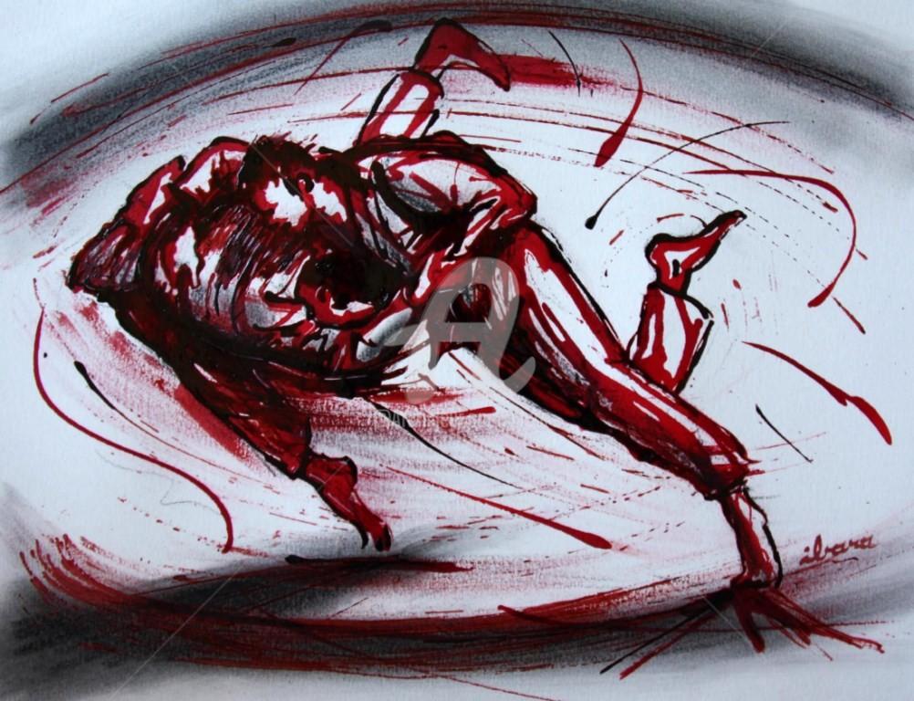 Henri Ibara - judo-n-5-dessin-d-ibara-a-l-encre-rouge-et-sanguine-sur-papier-aquarelle-300gr-format-30cm-sur-42cm.jpg