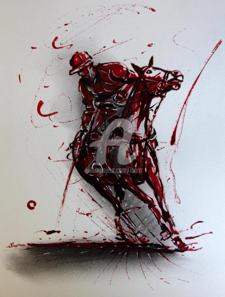Henri Ibara - joueur-de-polo-a-cheval-dessin-d-ibara-a-l-encre-rouge-et-sanguine-sur-papier-aquarelle-300gr-format-30cm-sur-42cm-2.jpg